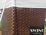 Павильон шатер Ротанговый 3x4 м Черно-серый с Диодным освещением, фото 7