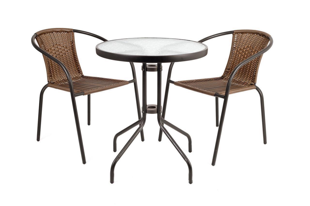 Садовая мебель BISTRO RATTAN Круглый столик + 2 стула
