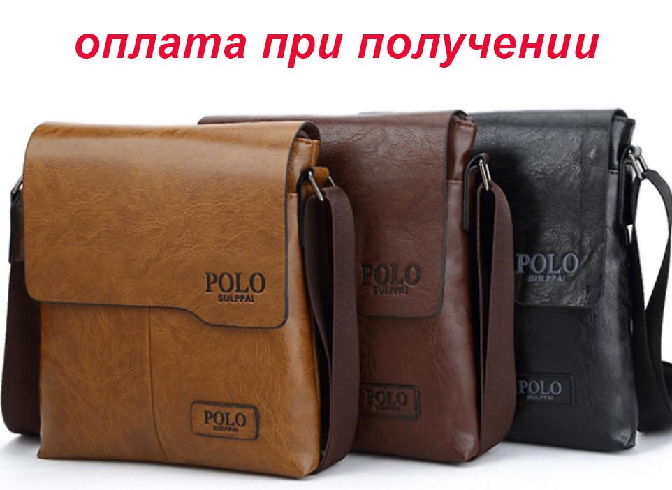 Чоловіча стильна шкіряна сумка барсетка через плече Polo Jeep купити