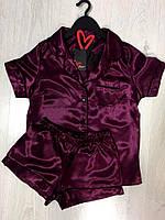 Атласная пижама рубашка и шорты женская, фото 1