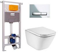 Комплект: GAP Rimless унитаз подвесной с сидением soft close, комплект инсталляции Imprese 3в1