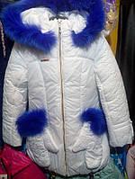 Зимнее пальто на девочку с рукавичками