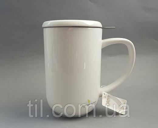 Керамическая чашка с заварником 500 мл.