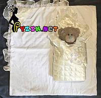 Конверт-одеяло для новорожденных на выписку и в коляску атласный легкий белый