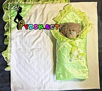 Конверт-одеяло для новорожденных на выписку и в коляску атласный легкий салатовый