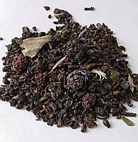 """Зеленый чай""""Соблазн""""ганпаудер китайский с ягодами черники и ежевики,листом земляники и василька(gunpowder tea)"""