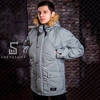 Зимняя мужская куртка Pitt 2018 с мехом серая, фото 1