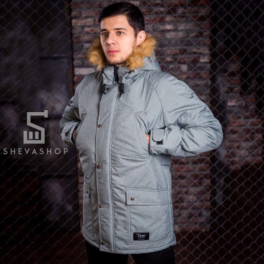 Зимняя мужская куртка Pitt 2018 с мехом серая