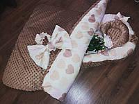 Кокон с сердечками + конверт-плед + ортопедическая подушка для новорожденных