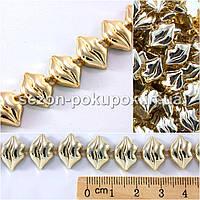 (1м) Полубусины на нитке Код:101 (ширина 15мм,тесьма из бусин) цена за 1 метр Цвет - золото