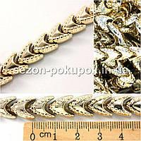 (1м) Полубусины на нитке Код:465з (ширина 10мм,тесьма из бусин) цена за 1 метр Цвет - золото