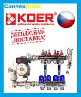 Коллектор для теплого пола KOER на 4 контура  (Чехия)