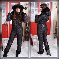 Черный зимний комбинезон с капюшоном