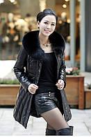 Женская кожаная куртка овчина воротник лиса