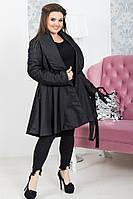 Черное зимне пальто-колокольчик 48-50 , 52-54рр