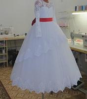 Детское платье  - с красным поясом, фото 2