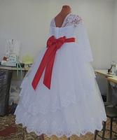 Детское платье  - с красным поясом, фото 3