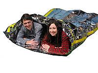 Спасательный тепловой спальник мешок конверт термомешок конверт из фольги майлара для 2-х человек, фото 1