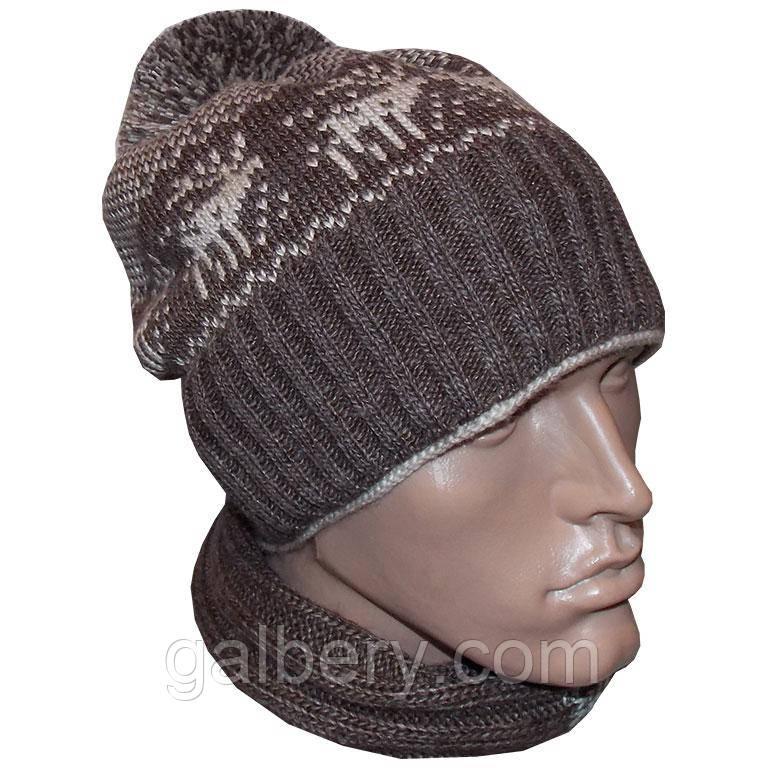 мужская вязаная шапка носок с помпоном утепленный вариант с