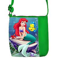 Зеленая сумка для девочки с принтом Русалочка