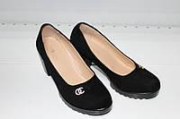 Туфли женские STEEL- LAND 890-15 чёрного цвета замш
