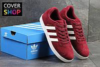 Кроссовки мужские Adidas Gazelle, материал - замша, подошва - резина, бордовые