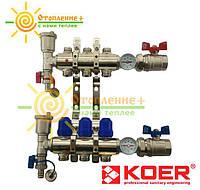 Коллектор теплого пола KOER для низкотемпературных систем на 11 контуров