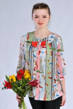 Подростковая блузка с рукавом 3/4 с оригинальным принтом
