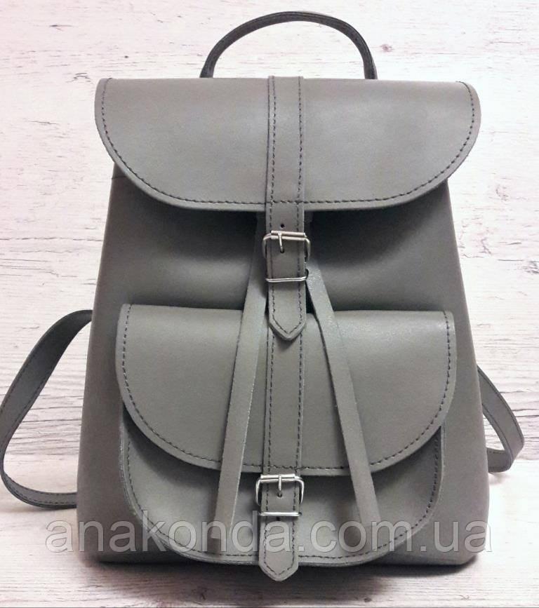 125 Натуральная кожа, Городской рюкзак женский кожаный, серый - Магазин