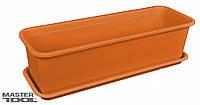 Ящик балконный поддоном 16*49*13 см коричневый
