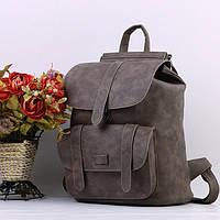 Рюкзак женский кожаный  с клапаном и карманом (коричневый)