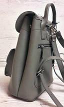 125 Натуральная кожа Городской рюкзак серый Кожаный рюкзак Из натуральной кожи Рюкзак женский серый рюкзак, фото 3