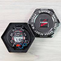 Черные спортивные часы с красными вставками casio g-shock, часы мужские касио