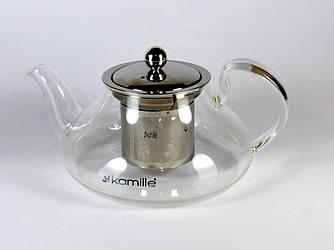 Заварочный чайник 800 мл Kamille стеклянный со съемным ситечком (заварник, для газовых плит)