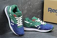 Кроссовки для спорта и туризма Reebok Hexalite, материал - замша+текстиль, подошва - пенка, сине-зеленые