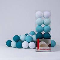 Хлопковая гирлянда Aqua 20 шариков
