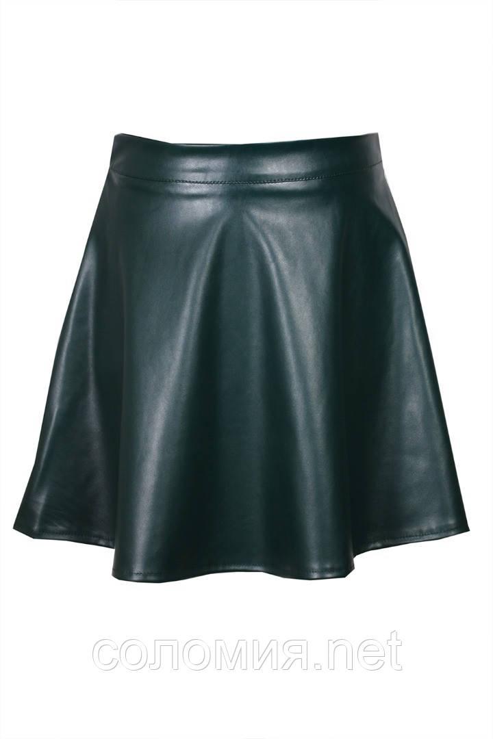 Модная юбка из экокожи для девочек 134-152р