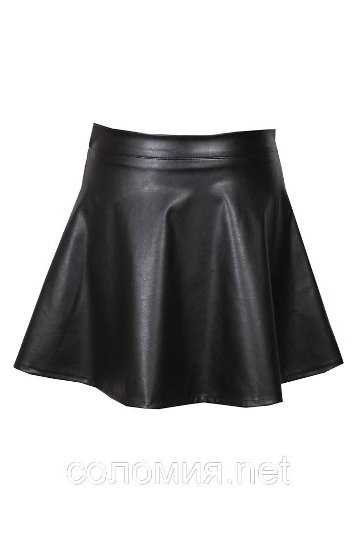 Черная юбка из экокожи для девочек 134-152р