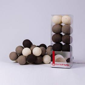 Хлопковая гирлянда Brown 10 шариков