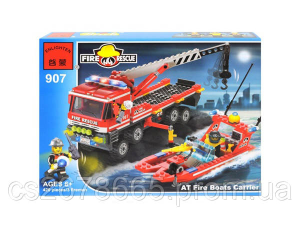 """Конструктор Brick 907 """"Пожарная машина и катер"""", 420 дет"""