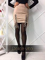 Женская стильная  юбка мини из плотного замша