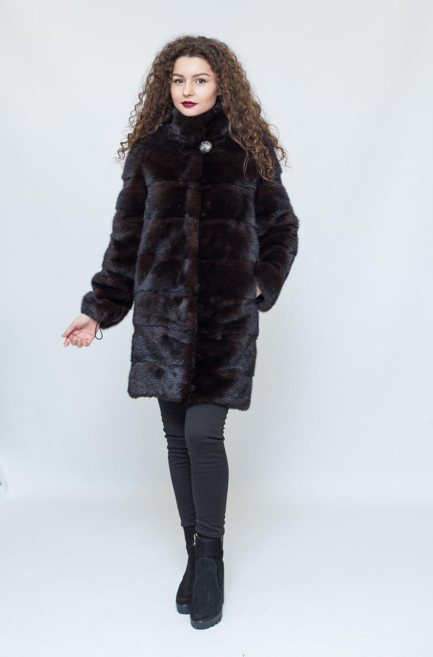 Шуба - трансформер из норки (темно-коричневая), воротник стойка / mink coat 370