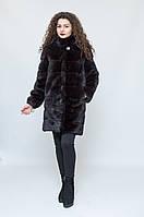 Шуба - трансформер из норки (темно-коричневая), воротник стойка / mink coat 370, фото 1