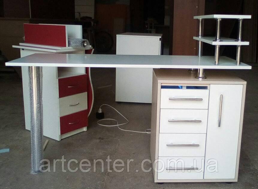 """Маникюрный стол с УФ лампой бактерицидной, ящиком """"карго"""" и полочкой для лаков"""