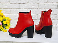 Ботинки женские из натуральной кожи красного цвета Б-420