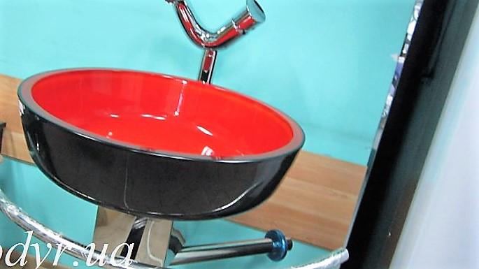 Умывальник стеклянный двухцветный круглый 420 мм (красный/черный)