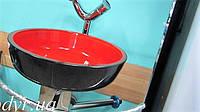 Умывальник стеклянный двухцветный круглый 420 мм (красный/черный), фото 1