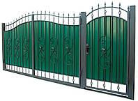 Ворота и калитка с элементами ковки ВР-04