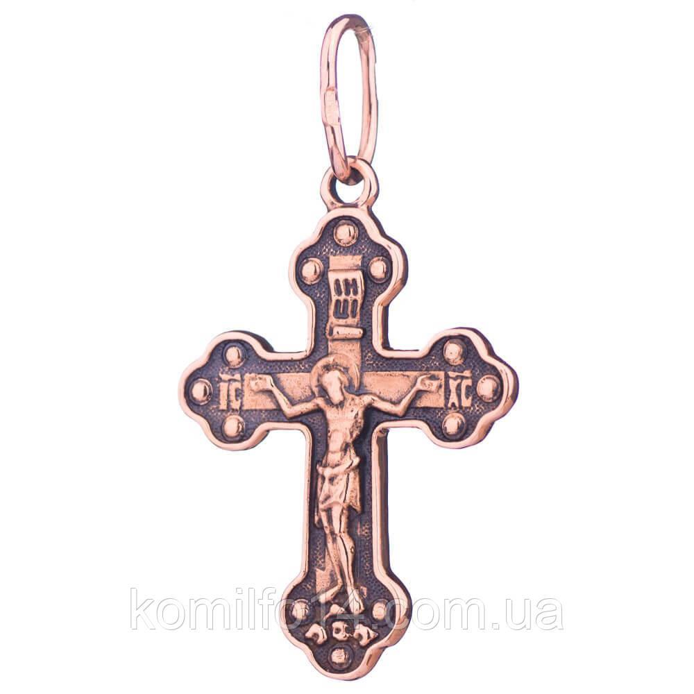 """Православный крест """"Распятие с молитвой"""" (чернение)"""