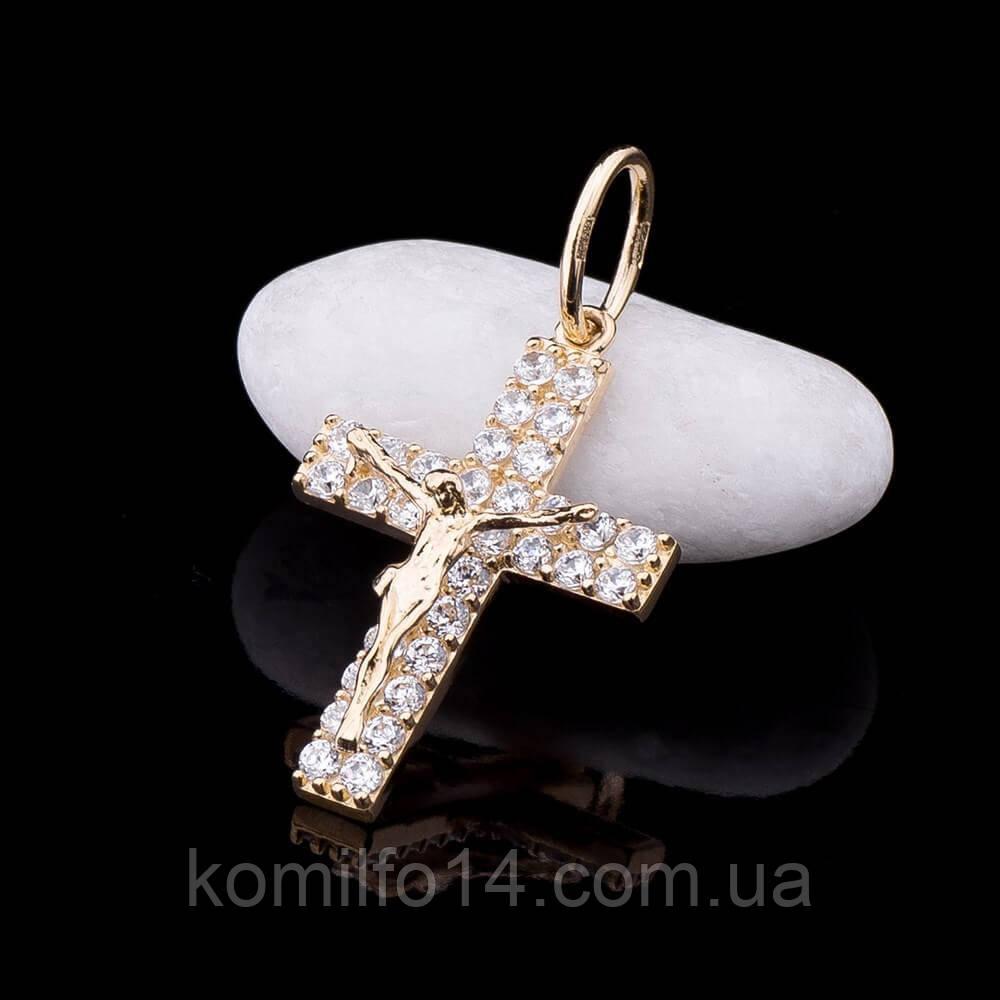 Золотой православный крест с фианитами